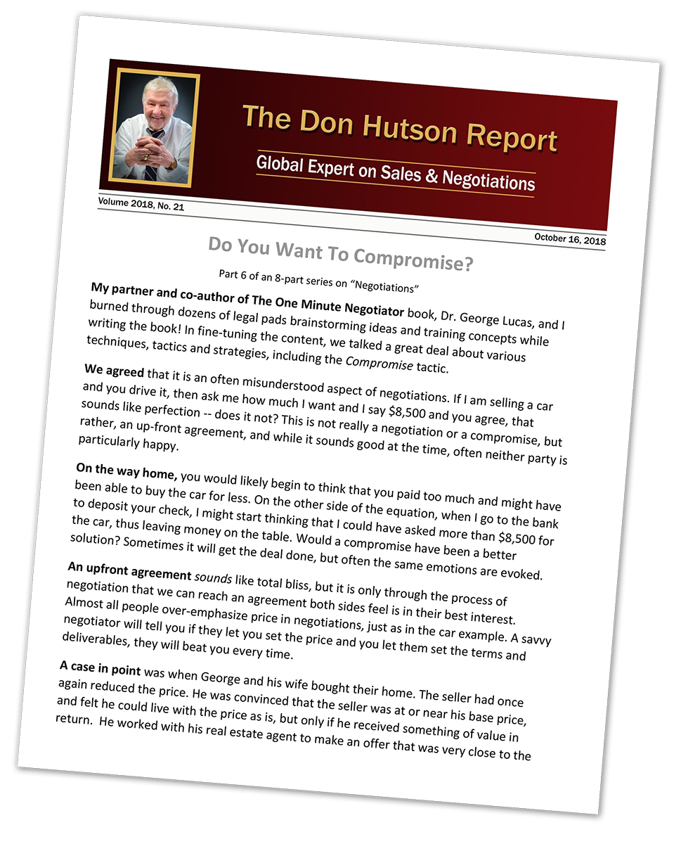 Don Hutson | Expert on Selling Value, Negotiations